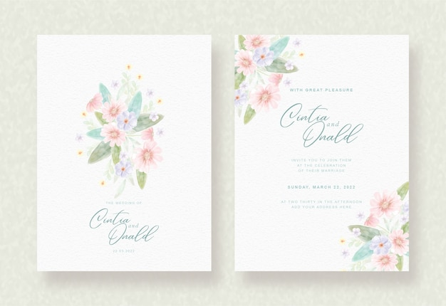 Colorful flowers background on wedding card Premium Vector