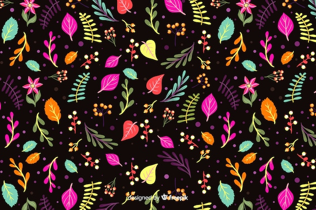 Colorful flowers on black background Free Vector