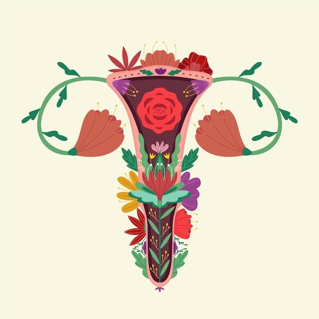 Sistema riproduttivo femminile di fiori colorati Vettore gratuito