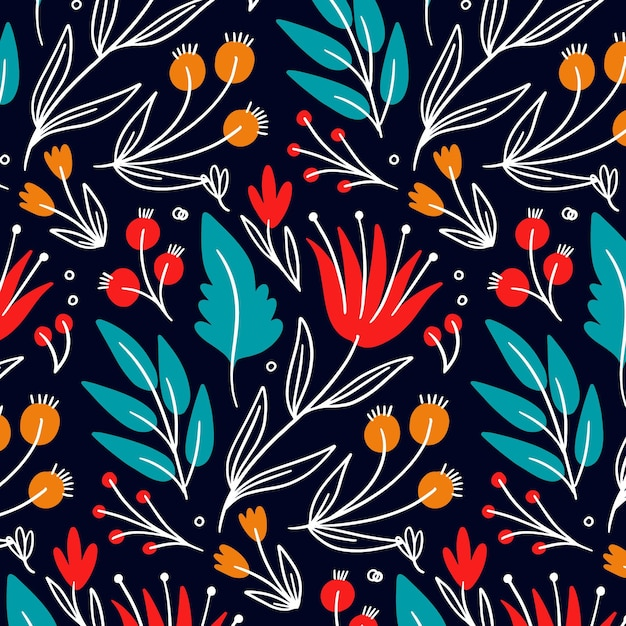Colorful flowers and leaves pattern Premium Vector