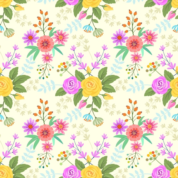 Colorful flowers pattern fabric background. Premium Vector