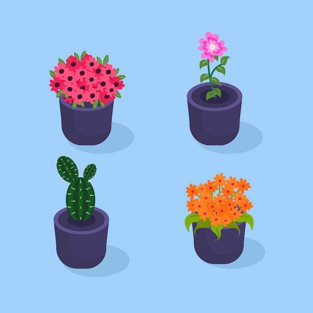 Colorful flowers in pot collection Premium Vector