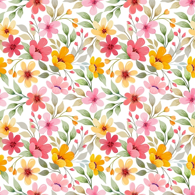 Красочные цветы бесшовные шаблон векторного дизайна. Premium векторы