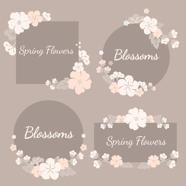 Colorful flowers set Free Vector