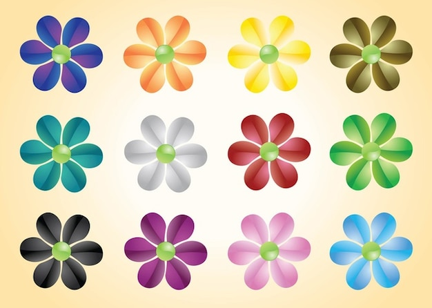 Colorful Flowers Vectors
