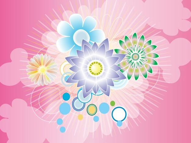 Ipad Wallpaper Little Plant In A Bubble: Colorful Flowers With Bubbles Abstract Background Vector