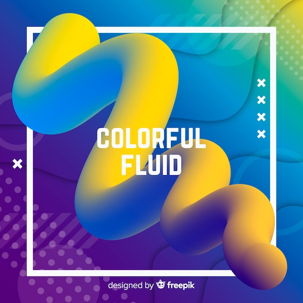 Colorful fluid 3d shape background Free Vector