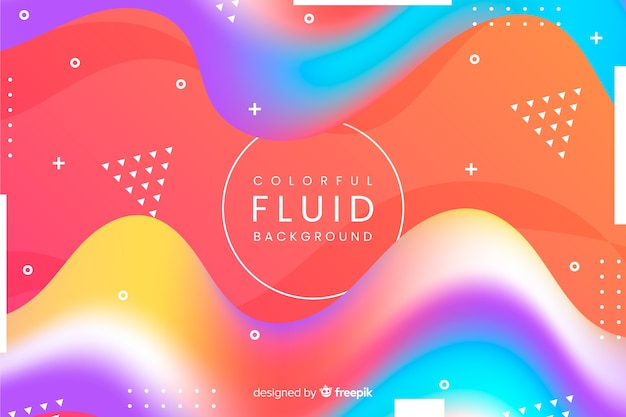 Красочная жидкость 3d фон формы Бесплатные векторы