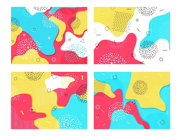 Colorful fluid art abstract  with geometric elements in four option. Premium Vector