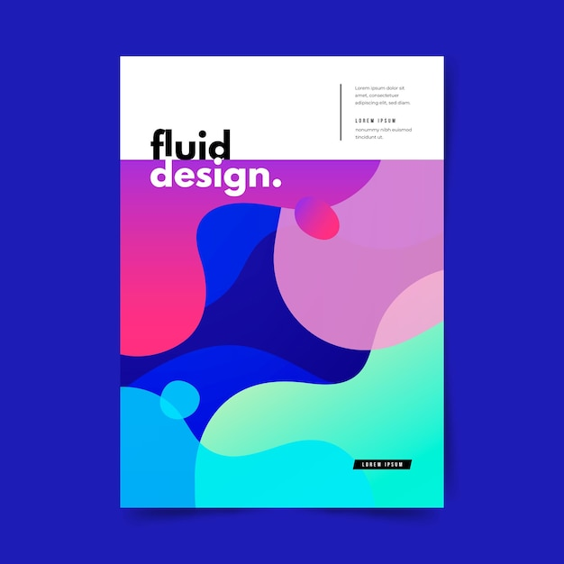 Colorful fluid effect poster template Free Vector