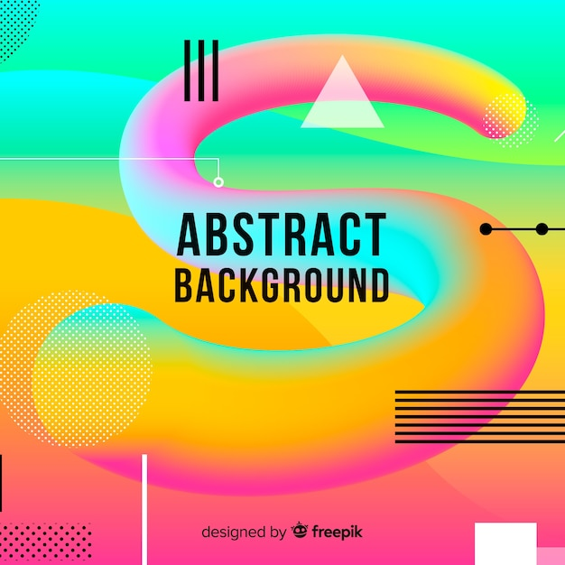 Colorful fluid tridimensional shapes background Free Vector