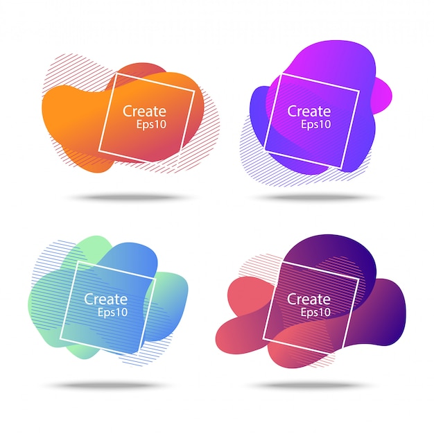Colorful fluid and wave badges background Premium Vector