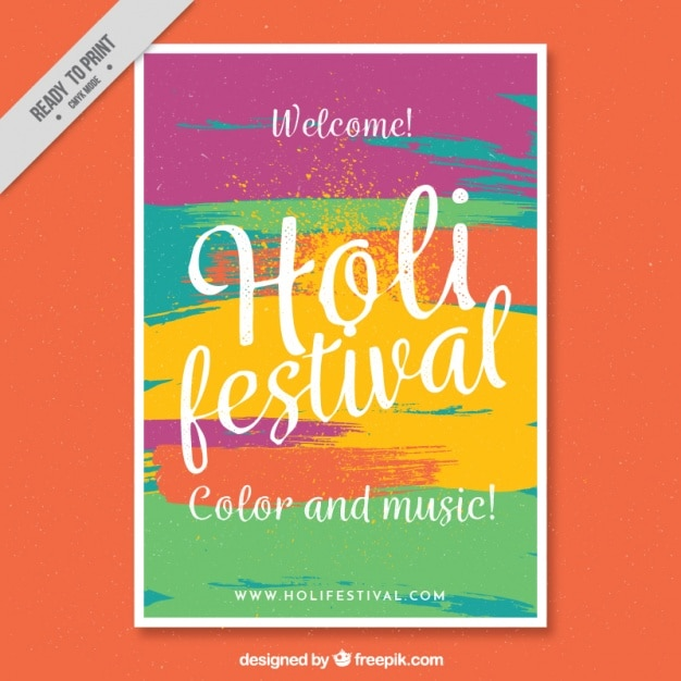colorful flyer template ready holi festival vector