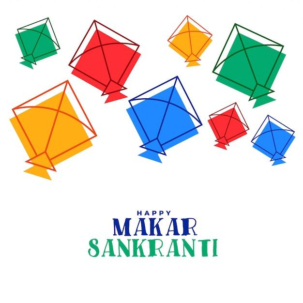Colorful flying kites makar sankranti festival greeting card Free Vector