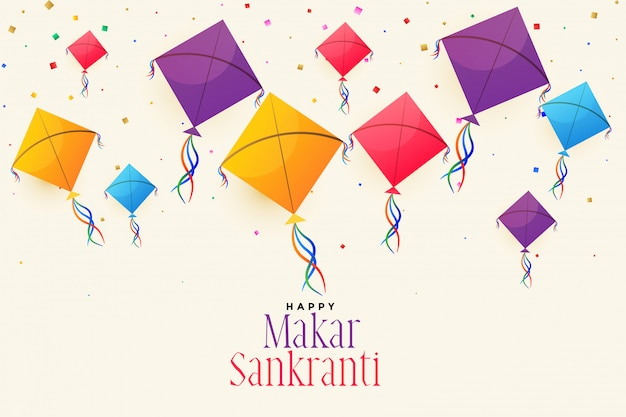 Colorful flying kites for makar sankranti festival Free Vector