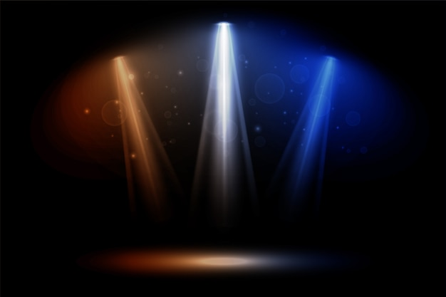 Colorful focus spotlights club dance party background Free Vector
