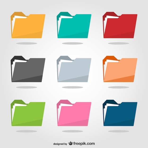 Colorful folders pack Free Vector