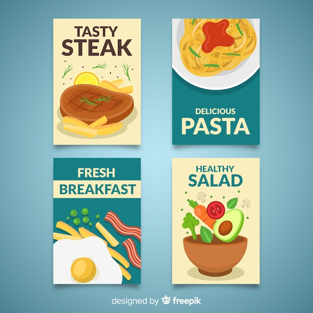 Colorful food card collection Free Vector