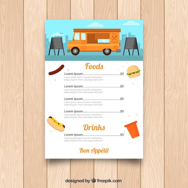Colorful food truck menu template