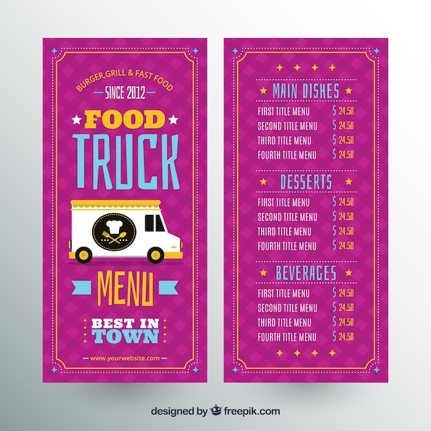 colorful food truck menu with flat design stock images page