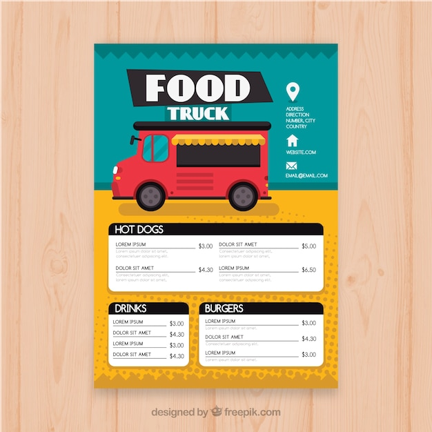 Colorful Food Truck Menu With Icons Free Vector
