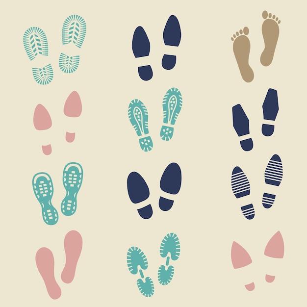 Colorful footprints Premium Vector