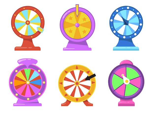 Colorful fortune wheel flat item set. cartoon gambling roulette with arrows for internet casino isolated vector illustration collection. lottery and prize winning concept Free Vector
