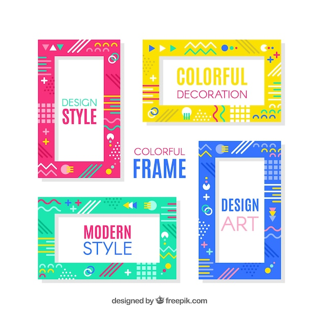 31fdcc51f3 Colorful frame collection with geometric shapes Vector