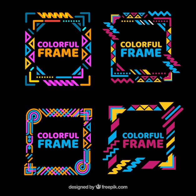 Colorful frame collection with geometric shapes Free Vector
