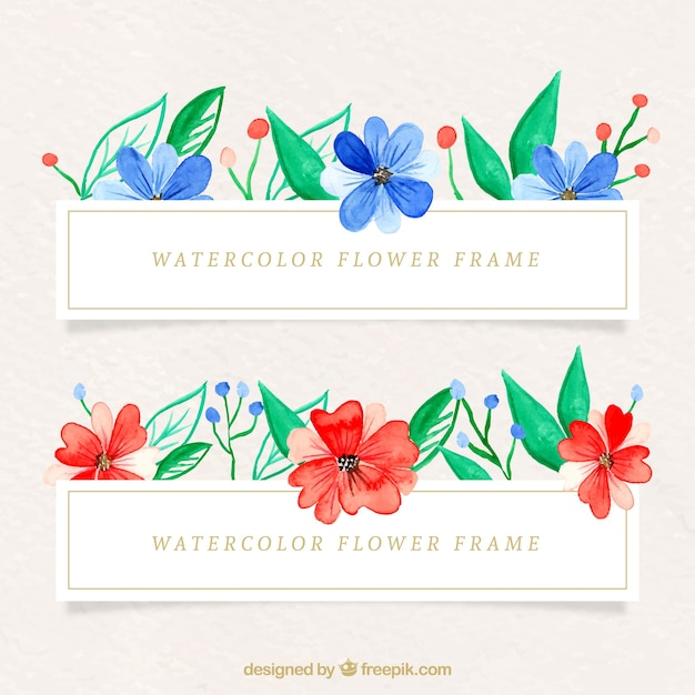 Colorful frame with watercolor flowers
