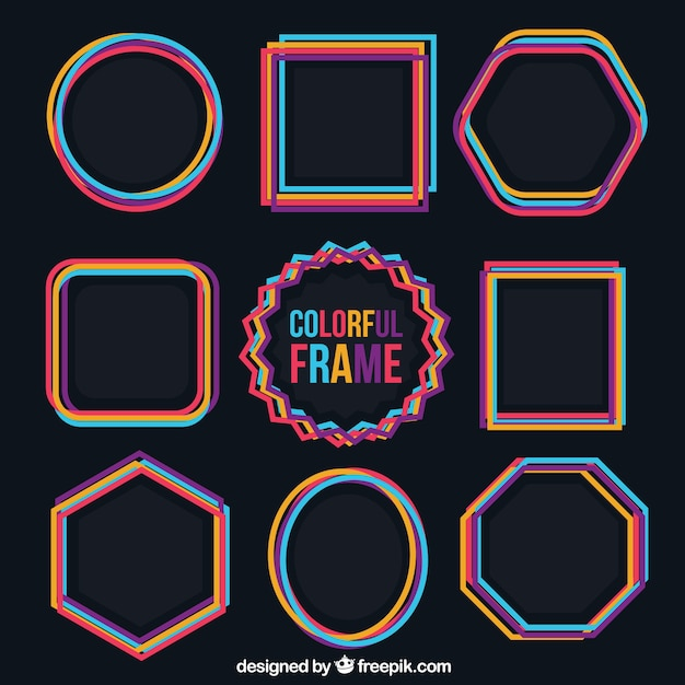 Colorful frames collection Free Vector