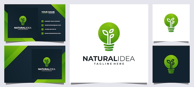 Colorful fresh idea logo and business card, with concept green leaf and light bulb Premium Vector