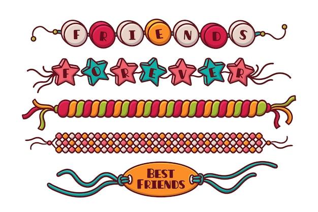 カラフルな友情バンドコレクション 無料ベクター