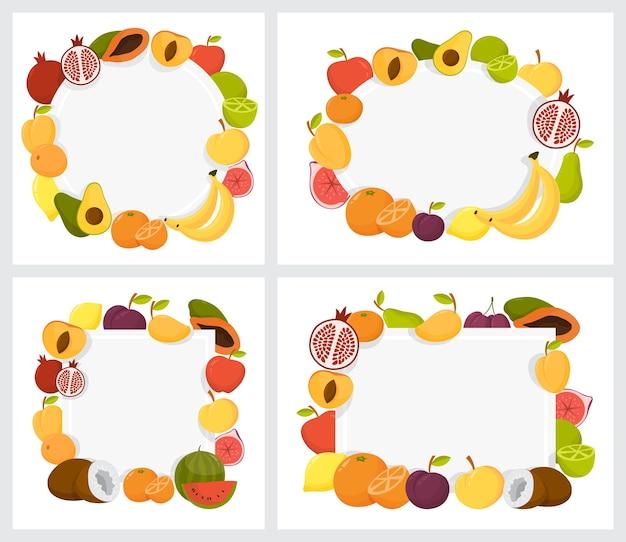 Набор красочных фруктов кадр. коллекция тропических фон Premium векторы