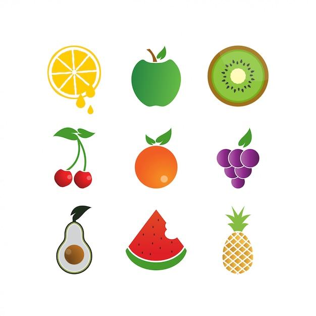 カラフルなフルーツロゴアイコンのテンプレート Premiumベクター