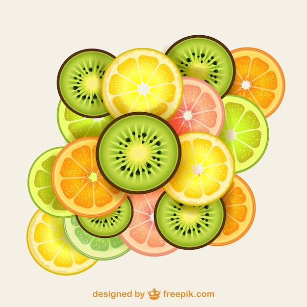 カラフルなフルーツのスライス 無料ベクター