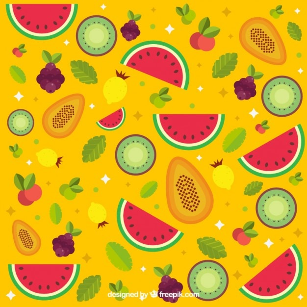 Colorful Fruits Background Free Vector