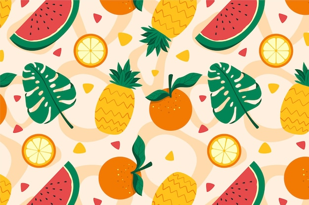 Colorful fruits pattern Free Vector