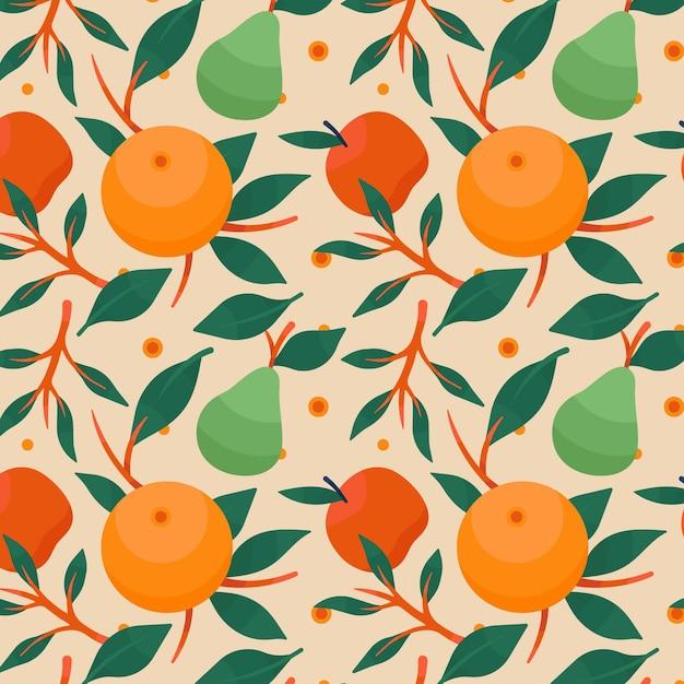 다채로운 과일 패턴 무료 벡터