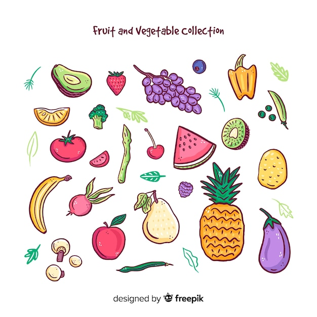 Colorful fruits and vegetables collection Free Vector
