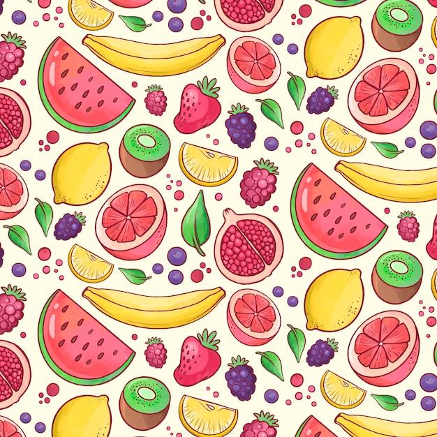 Sfondo colorato modello fruttato Vettore gratuito