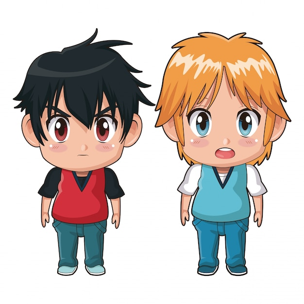 Colorful full body couple cute anime teenager facial ...