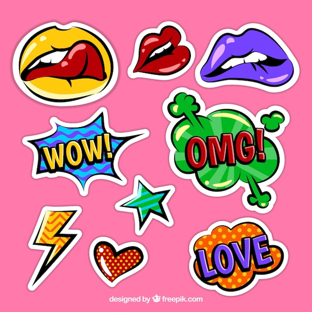 colorful funky sticker pack vector free download
