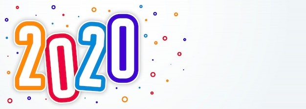Colorful funky style 2020 happy new year banner Free Vector
