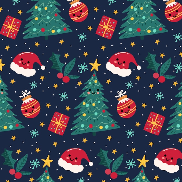 Colorful funny christmas pattern Free Vector