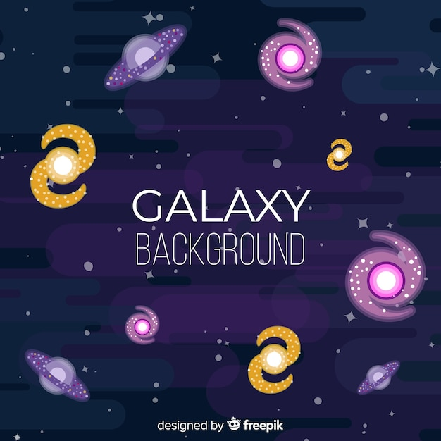 Colorful galaxy background with flat design Free Vector