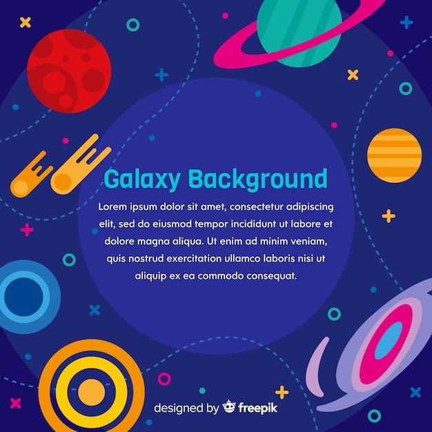 フラットデザインのカラフルな銀河の背景 無料ベクター