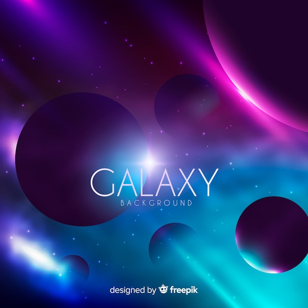 Colorful galaxy background with realistic design Free Vector