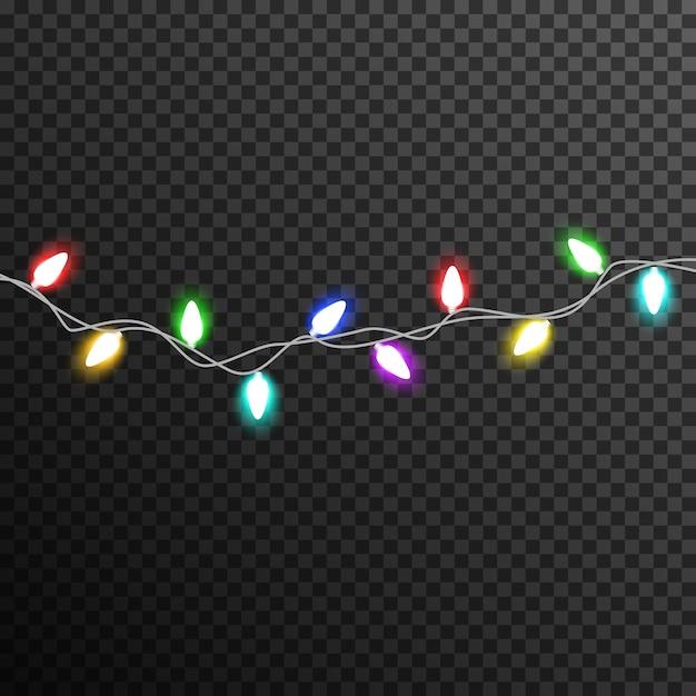 Colorful garland light bulb decoration transparent Premium Vector
