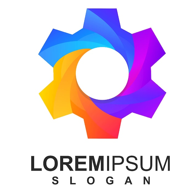 Colorful gear logo icon premium vector Premium Vector